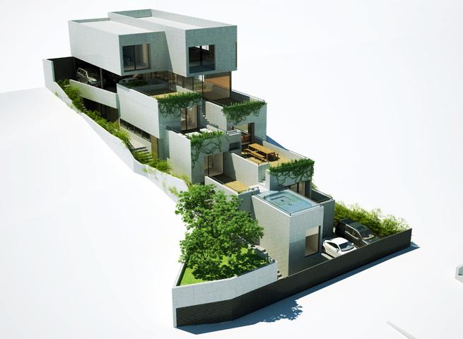 Casa papyrus atelier de luz l better design better life - Casas en pendiente ...